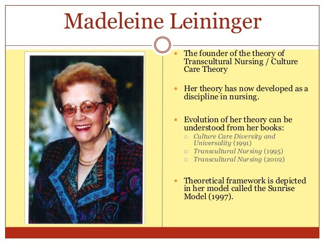 analysis and critique of madeleine leininger Leininger's theory defines care as the essence and dominant domain of nursing, and is unique in suggesting that patient need and the resulting intervention should be determined by culture and lifestyle.