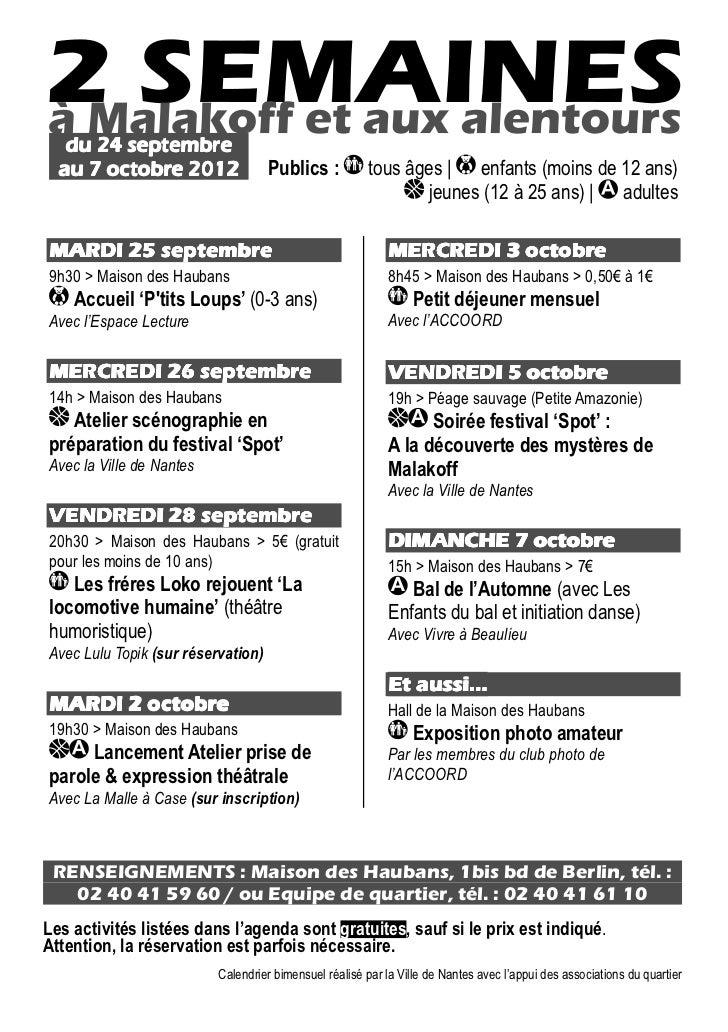 du 24 septembre  au 7 octobre 2012                 Publics :           tous âges | enfants (moins de 12 ans)              ...