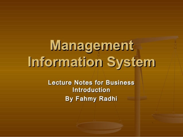 management information system lecture notes pdf
