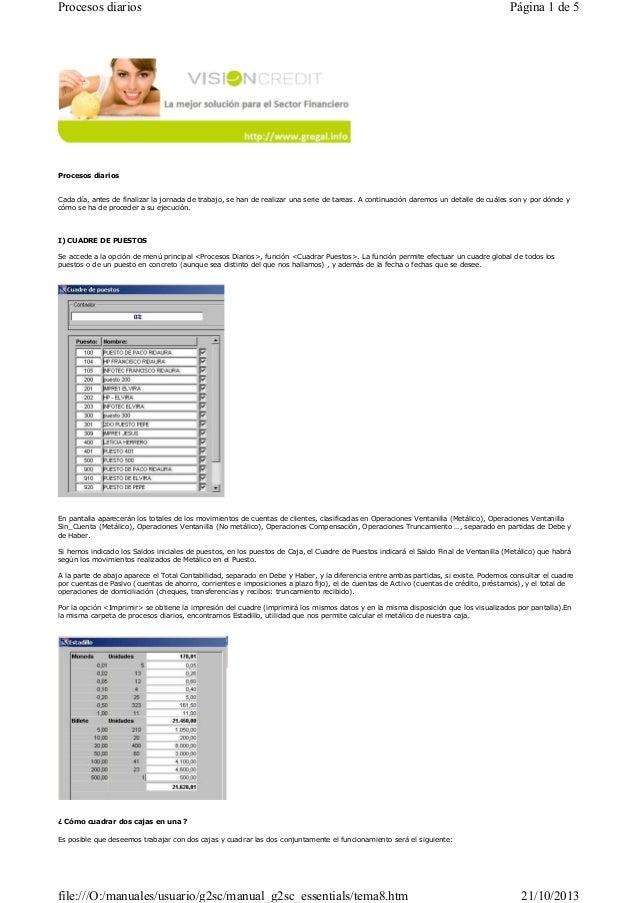 Procesos diarios  Página 1 de 5  Procesos diarios  Cada día, antes de finalizar la jornada de trabajo, se han de realizar ...