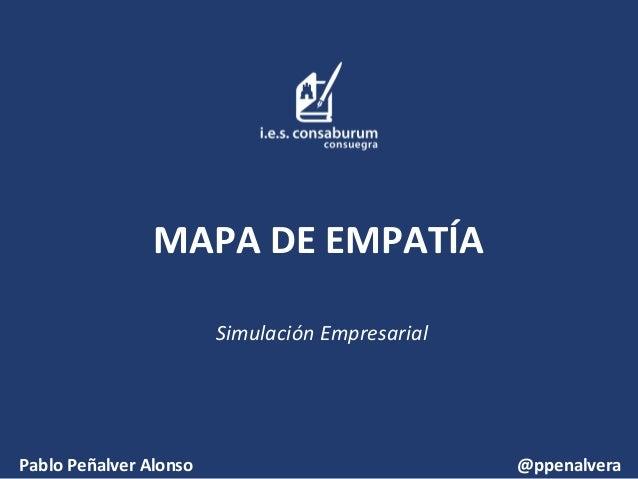 MAPA DE EMPATÍA Simulación Empresarial  Pablo Peñalver Alonso  @ppenalvera