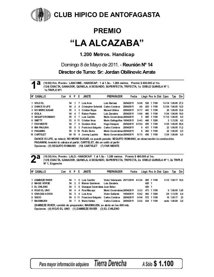 """CLUB HIPICO DE ANTOFAGASTA                                                     PREMIO                                """"LA A..."""