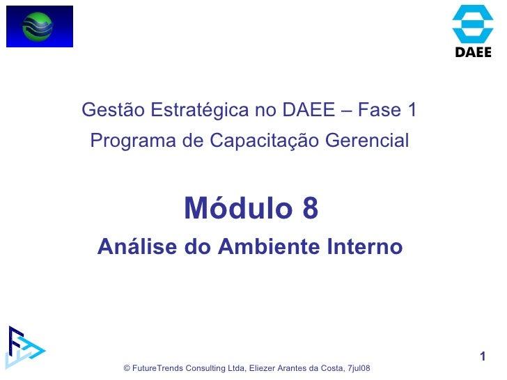 Módulo 8 Análise do Ambiente Interno  Gestão Estratégica no DAEE – Fase 1 Programa de Capacitação Gerencial