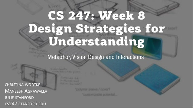 CS 247: Week 8 Design Strategies for Understanding Metaphor, Visual Design and Interactions CHRISTINA WODTKE MANEESH AGRAW...