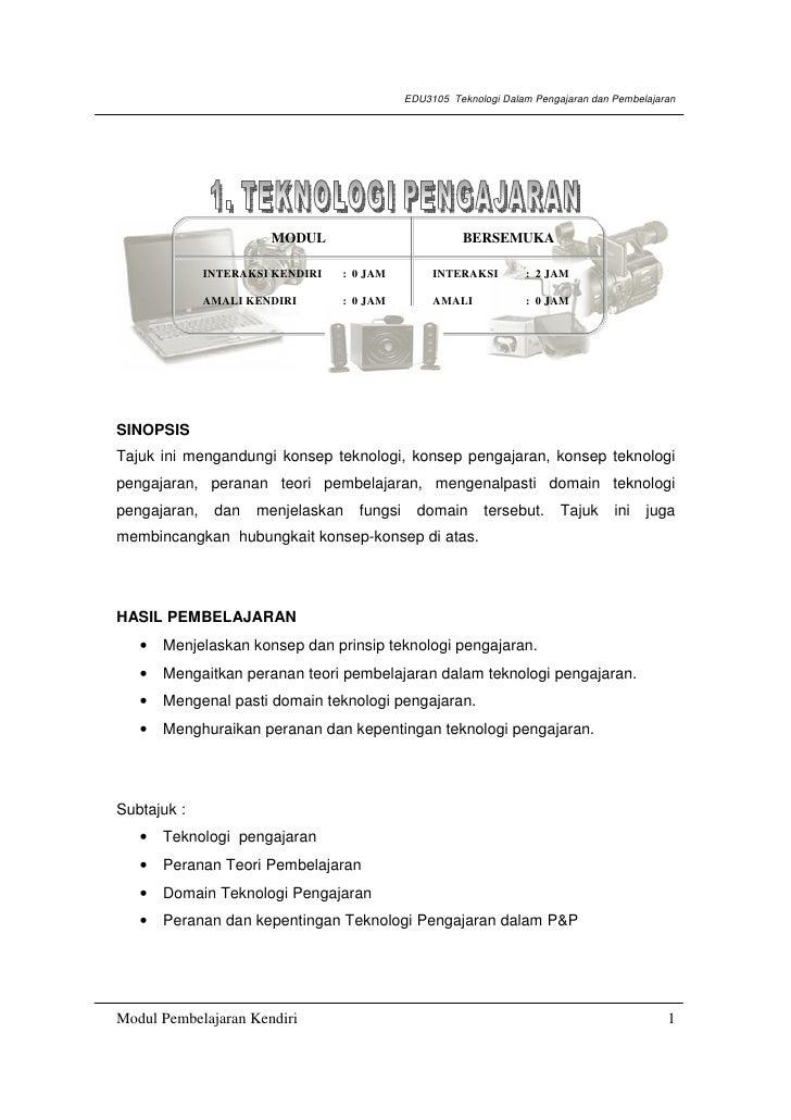 EDU3105 Teknologi Dalam Pengajaran dan Pembelajaran                       MODUL                            BERSEMUKA      ...