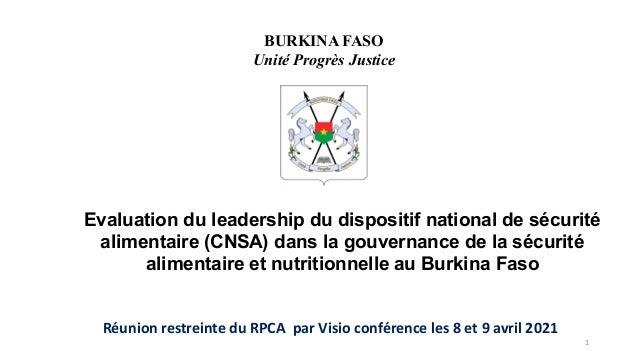 Evaluation du leadership du dispositif national de sécurité alimentaire (CNSA) dans la gouvernance de la sécurité alimenta...