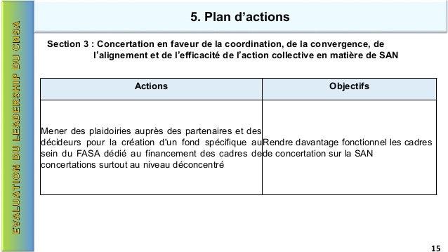 5. Plan d'actions Section 3 : Concertation en faveur de la coordination, de la convergence, de l'alignement et de l'effica...
