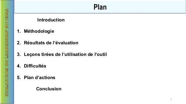 Introduction 1. Méthodologie 2. Résultats de l'évaluation 3. Leçons tirées de l'utilisation de l'outil 4. Difficultés 5. P...