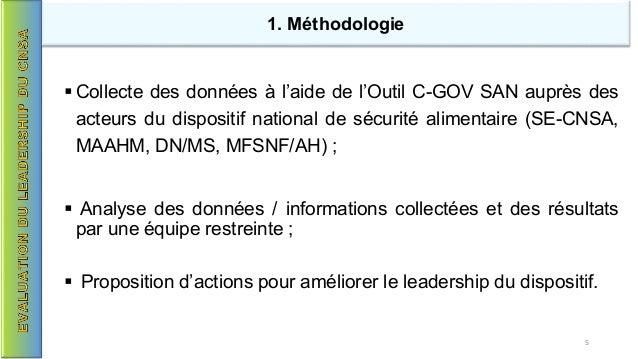  Collecte des données à l'aide de l'Outil C-GOV SAN auprès des acteurs du dispositif national de sécurité alimentaire (SE...