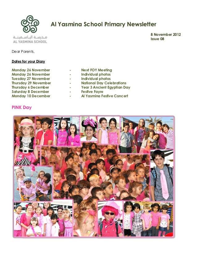 Al Yasmina School Primary Newsletter                                                               8 November 2012        ...