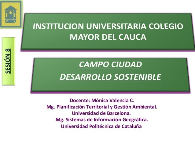 SESIÓN8Docente: Mónica Valencia C.Mg. Planificación Territorial y Gestión Ambiental.Universidad de Barcelona.Mg. Sistemas ...