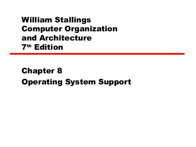 William StallingsComputer Organizationand Architecture7thEditionChapter 8Operating System Support