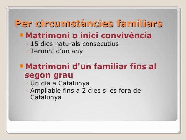 Per circumstàncies familiarsPer circumstàncies familiars Matrimoni o inici convivència ◦ 15 dies naturals consecutius ◦ T...