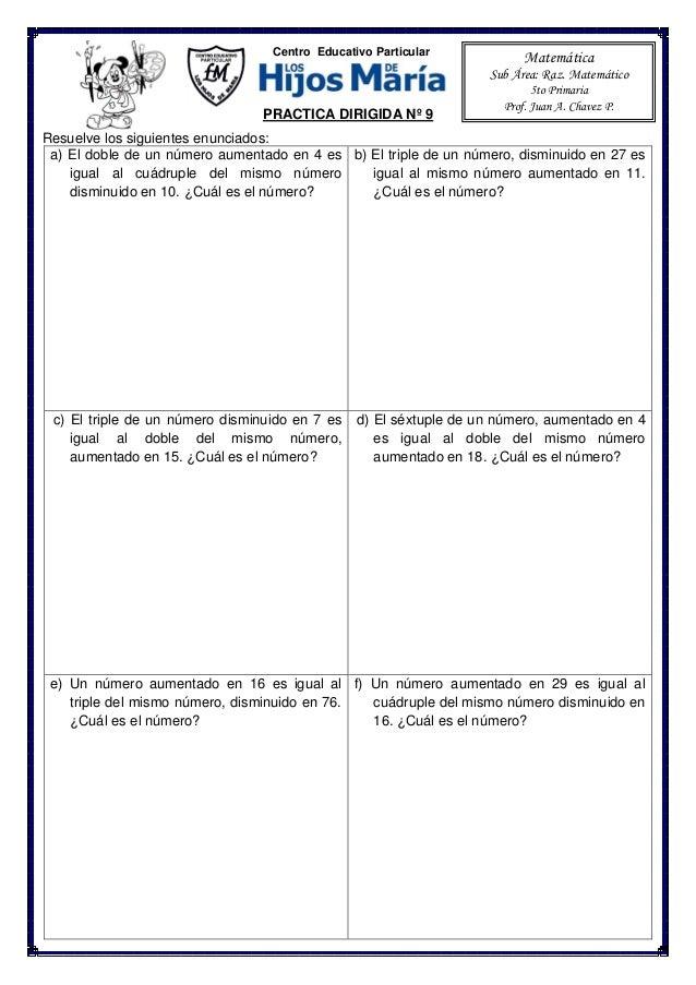 Ejercicios de planteo de ecuaciones para 5to de Primaria