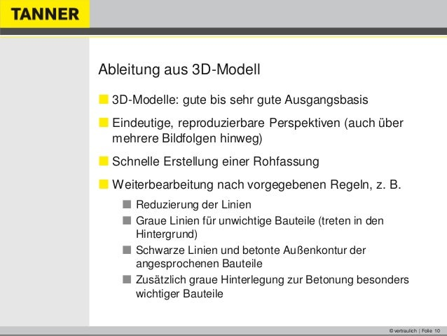 © vertraulich | Folie 10Ableitung aus 3D-Modell 3D-Modelle: gute bis sehr gute Ausgangsbasis Eindeutige, reproduzierbare...