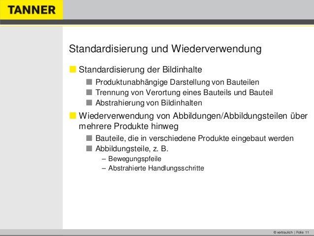 © vertraulich | Folie 11Standardisierung und Wiederverwendung Standardisierung der Bildinhalte Produktunabhängige Darste...