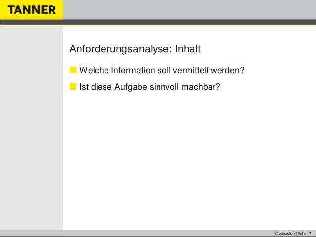 © vertraulich | Folie 7Anforderungsanalyse: Inhalt Welche Information soll vermittelt werden? Ist diese Aufgabe sinnvoll...