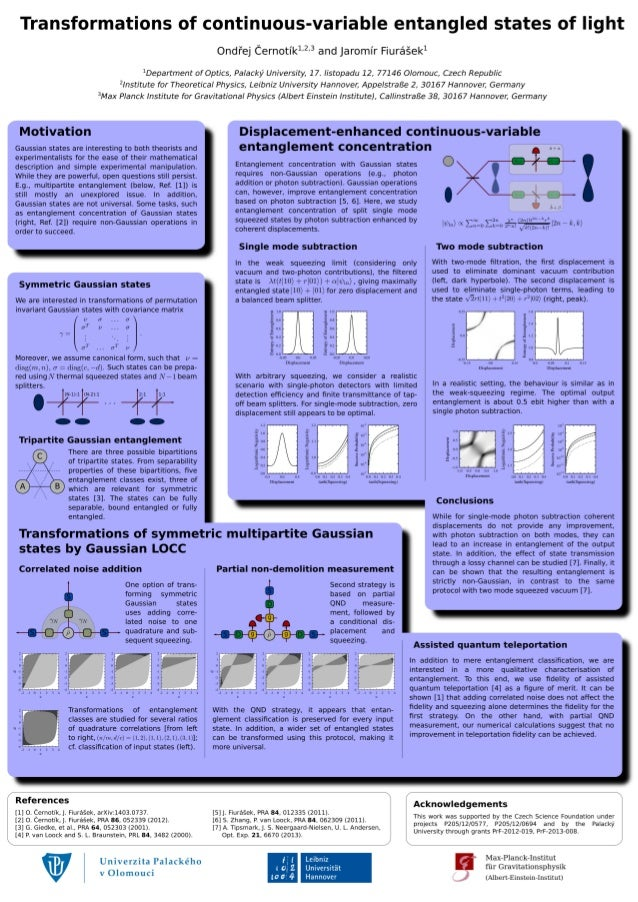 Transformations of continuous-variable entangled states of light Ond ej ernotík1,2,3 and Jaromír Fiurášek1 1 Department of...