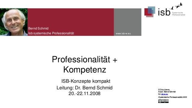 Bernd Schmid Isb systemische Professionalität  www.isb-w.eu  Professionalität + Kompetenz ISB-Konzepte kompakt Leitung: Dr...