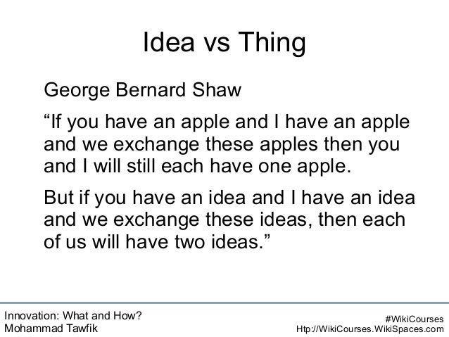 Innovation: What and How? Mohammad Tawfik #WikiCourses Htp://WikiCourses.WikiSpaces.com Idea vs Thing George Bernard Shaw ...