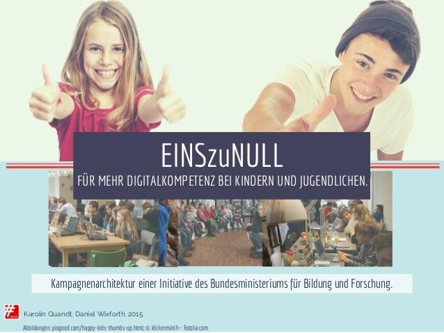 Karolin Quandt, Daniel Wixforth, 2015 FÜR MEHR DIGITALKOMPETENZ BEI KINDERN UND JUGENDLICHEN. EINSzuNULL Kampagnenarchitek...