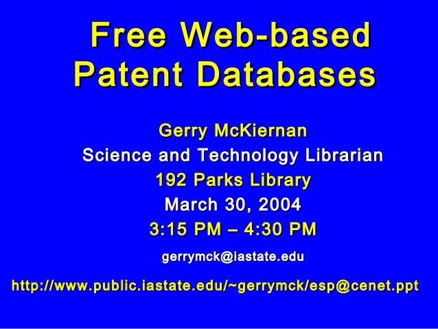 Gerry McKiernanGerry McKiernan Science and Technology LibrarianScience and Technology Librarian 192 Parks Library192 Parks...