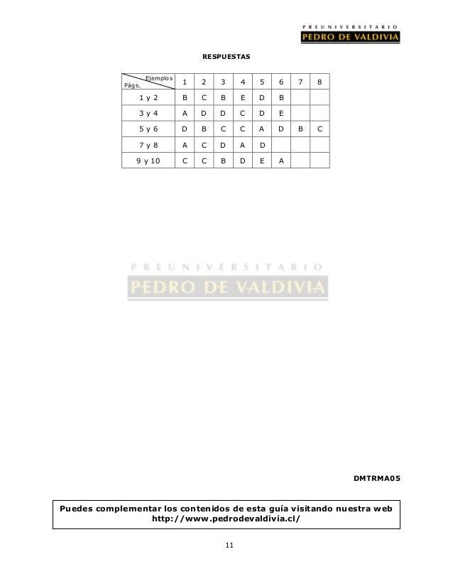 RESPUESTAS  11  DMTRMA05  Ejemplos  Págs. 1 2 3 4 5 6 7 8  1 y 2 B C B E D B  3 y 4 A D D C D E  5 y 6 D B C C A D B C  7 ...
