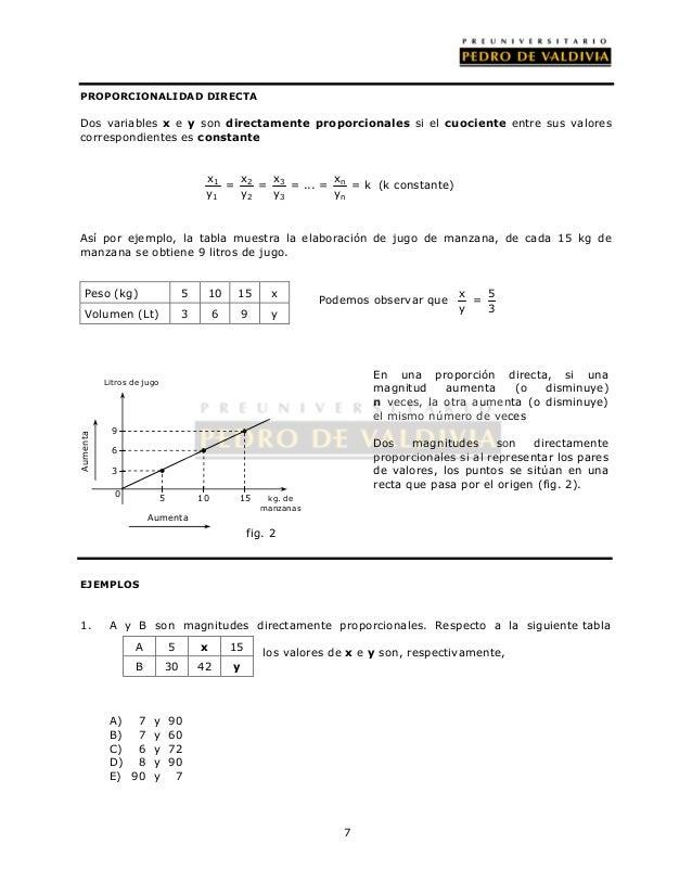 7  PROPORCIONALIDAD DIRECTA  Dos variables x e y son directamente proporcionales si el cuociente entre sus valores  corres...