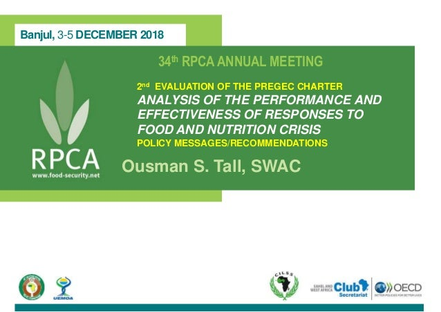 Banjul, 3-5 DECEMBER 2018 34th RPCAANNUAL MEETING 2nd EVALUATION OF THE PREGEC CHARTER ANALYSIS OF THE PERFORMANCE AND EFF...