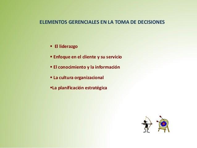 ELEMENTOS GERENCIALES EN LA TOMA DE DECISIONES   El liderazgo   Enfoque en el cliente y su servicio   El conocimiento y...
