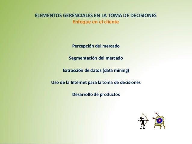 ELEMENTOS GERENCIALES EN LA TOMA DE DECISIONES  Enfoque en el cliente  Percepción del mercado  Segmentación del mercado  E...
