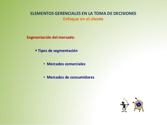 ELEMENTOS GERENCIALES EN LA TOMA DE DECISIONES  Enfoque en el cliente  Segmentación del mercado:   Tipos de segmentación ...