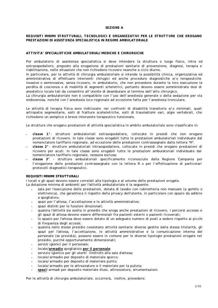SEZIONE AREQUISITI MINIMI STRUTTURALI, TECNOLOGICI E ORGANIZZATIVI PER LE STRUTTURE CHE EROGANOPRESTAZIONI DI ASSISTENZA S...