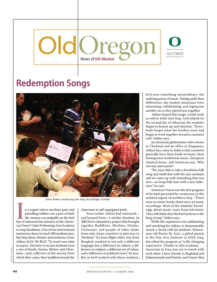 News of UO Alumni                       Redemption Songs                                                                  ...