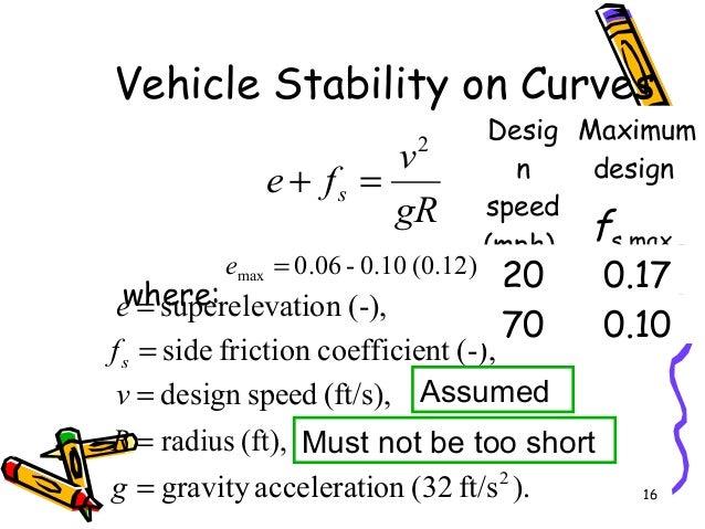 16 Vehicle Stability on Curves where: gR v fe s 2 =+ (ft/s),speeddesign=v (-),tcoefficienfrictionside=sf ).ft/s(32onaccele...