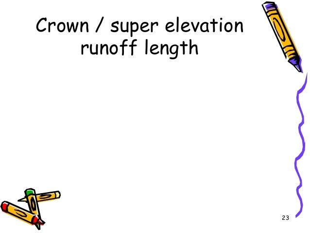 23 Crown / super elevation runoff length