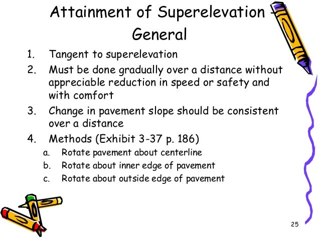 25 Attainment of Superelevation - General 1. Tangent to superelevation 2. Must be done gradually over a distance without a...