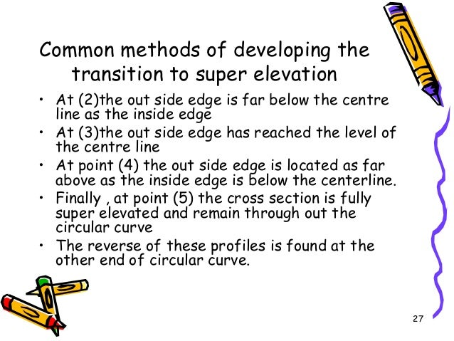 27 Common methods of developing the transition to super elevation • At (2)the out side edge is far below the centre line a...