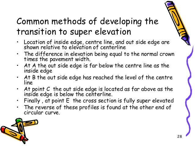 28 Common methods of developing the transition to super elevation • Location of inside edge, centre line, and out side edg...