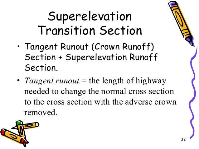 32 Superelevation Transition Section • Tangent Runout (Crown Runoff) Section + Superelevation Runoff Section. • Tangent ru...