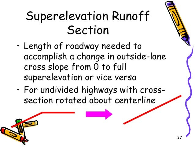 37 Superelevation Runoff Section • Length of roadway needed to accomplish a change in outside-lane cross slope from 0 to f...
