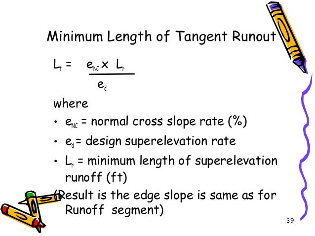 39 Minimum Length of Tangent Runout Lt = eNC x Lr ed where • eNC = normal cross slope rate (%) • ed = design superelevatio...
