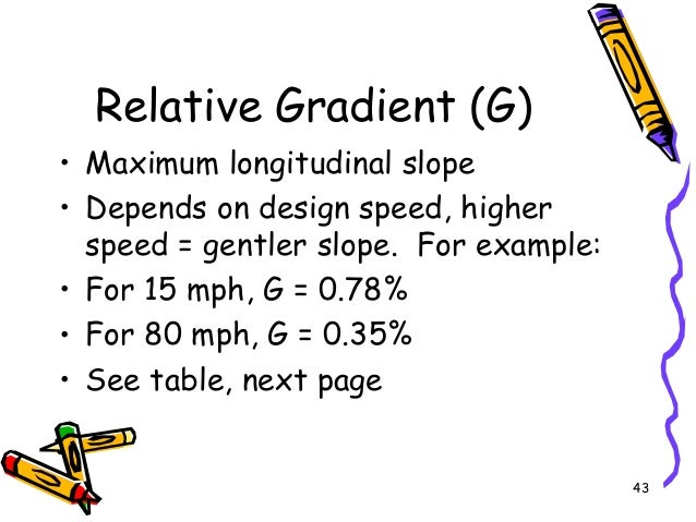 43 Relative Gradient (G) • Maximum longitudinal slope • Depends on design speed, higher speed = gentler slope. For example...