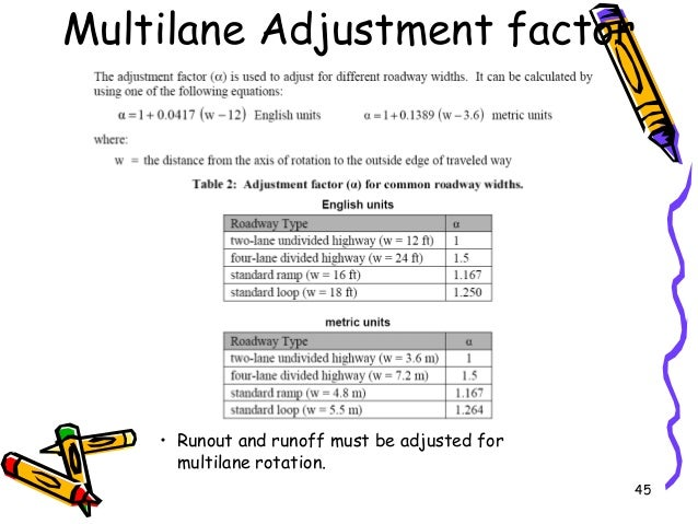 45 Multilane Adjustment factor • Runout and runoff must be adjusted for multilane rotation.