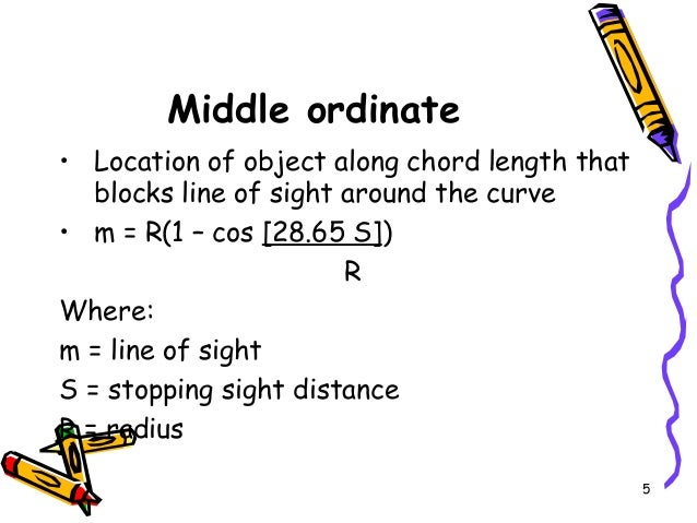 5 Middle ordinate • Location of object along chord length that blocks line of sight around the curve • m = R(1 – cos [28.6...