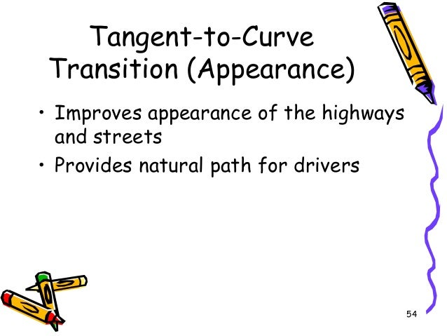 54 Tangent-to-Curve Transition (Appearance) • Improves appearance of the highways and streets • Provides natural path for ...