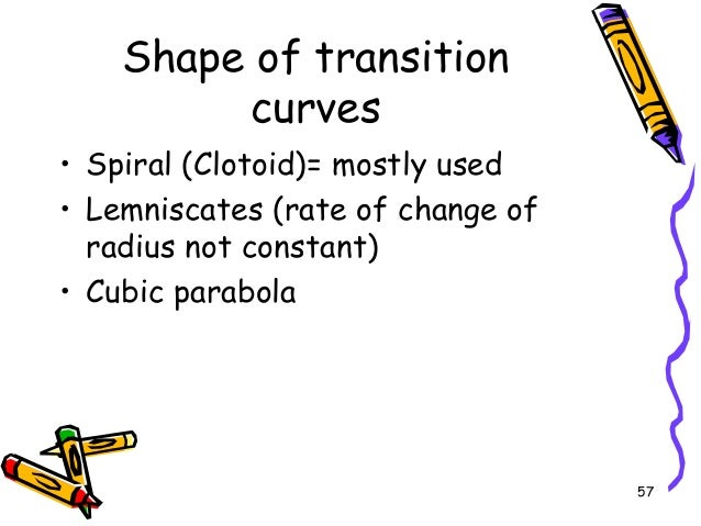 57 Shape of transition curves • Spiral (Clotoid)= mostly used • Lemniscates (rate of change of radius not constant) • Cubi...