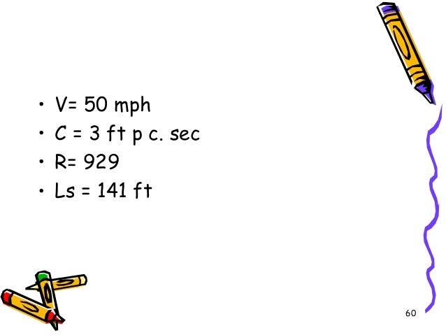 60 • V= 50 mph • C = 3 ft p c. sec • R= 929 • Ls = 141 ft