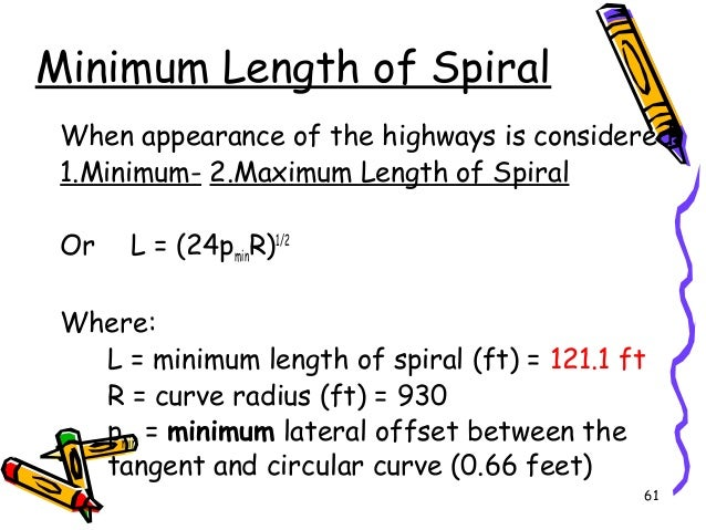 61 Minimum Length of Spiral When appearance of the highways is considered 1.Minimum- 2.Maximum Length of Spiral Or L = (24...