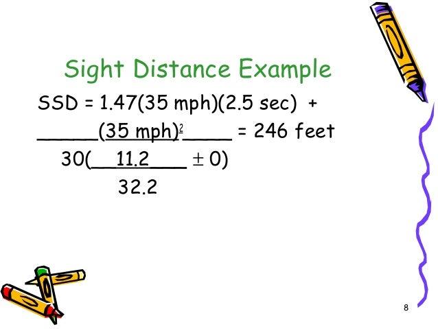8 Sight Distance Example SSD = 1.47(35 mph)(2.5 sec) + _____(35 mph)2 ____ = 246 feet 30(__11.2___ ± 0) 32.2